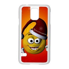 Cute Funny Christmas Smiley With Christmas Tree Samsung Galaxy S5 Case (White)