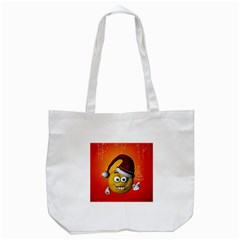 Cute Funny Christmas Smiley With Christmas Tree Tote Bag (White)