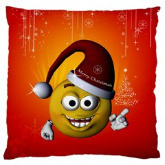 Cute Funny Christmas Smiley With Christmas Tree Standard Flano Cushion Cases (one Side)