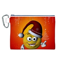 Cute Funny Christmas Smiley With Christmas Tree Canvas Cosmetic Bag (L)