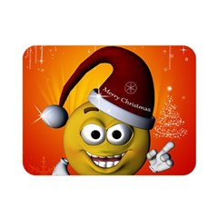 Cute Funny Christmas Smiley With Christmas Tree Double Sided Flano Blanket (Mini)