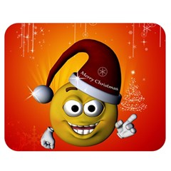 Cute Funny Christmas Smiley With Christmas Tree Double Sided Flano Blanket (medium)