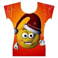 Cute Funny Christmas Smiley With Christmas Tree Women s Cap Sleeve Top