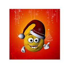 Cute Funny Christmas Smiley With Christmas Tree Small Satin Scarf (square)