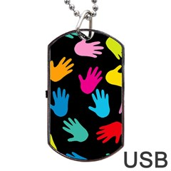 All Over Hands Dog Tag Usb Flash (one Side)