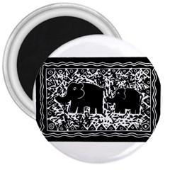 Elephant And Calf Lino Print 3  Magnets