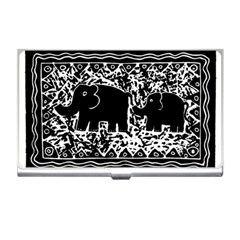 Elephant And Calf Lino Print Business Card Holders