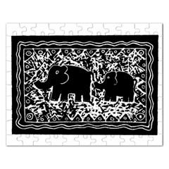 Elephant And Calf Lino Print Rectangular Jigsaw Puzzl
