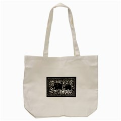 Elephant And Calf Lino Print Tote Bag (Cream)
