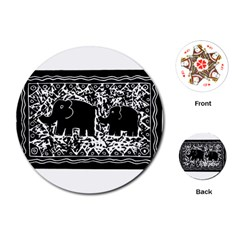 Elephant And Calf Lino Print Playing Cards (Round)
