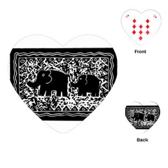 Elephant And Calf Lino Print Playing Cards (Heart)