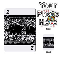 Elephant And Calf Lino Print Playing Cards 54 Designs