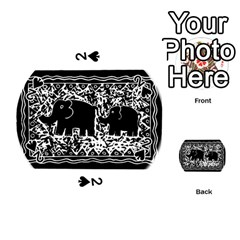 Elephant And Calf Lino Print Playing Cards 54 (Round)