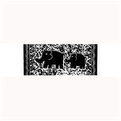 Elephant And Calf Lino Print Large Bar Mats