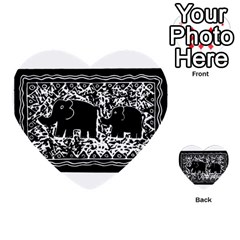 Elephant And Calf Lino Print Multi Purpose Cards (heart)
