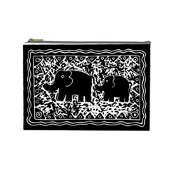Elephant And Calf Lino Print Cosmetic Bag (Large)