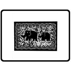 Elephant And Calf Lino Print Fleece Blanket (Large)