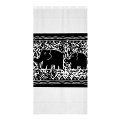 Elephant And Calf Lino Print Shower Curtain 36  x 72  (Stall)