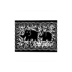 Elephant And Calf Lino Print Shower Curtain 48  x 72  (Small)