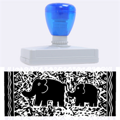 Elephant And Calf Lino Print Rubber Address Stamps (XL)