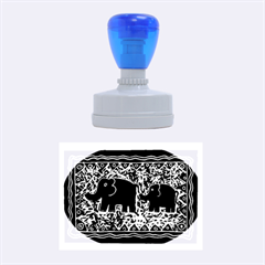Elephant And Calf Lino Print Rubber Oval Stamps