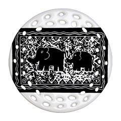 Elephant And Calf Lino Print Round Filigree Ornament (2Side)