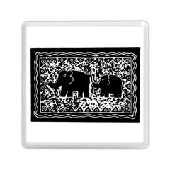 Elephant And Calf Lino Print Memory Card Reader (square)