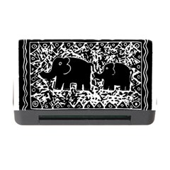 Elephant And Calf Lino Print Memory Card Reader with CF