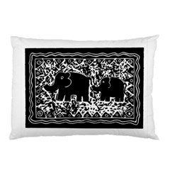 Elephant And Calf Lino Print Pillow Cases (two Sides)