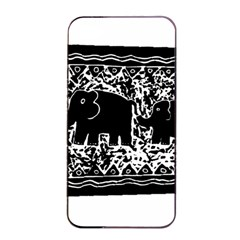 Elephant And Calf Lino Print Apple Iphone 4/4s Seamless Case (black)