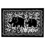 Elephant And Calf Lino Print YOU ARE INVITED 3D Greeting Card (8x4)  Inside