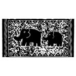Elephant And Calf Lino Print YOU ARE INVITED 3D Greeting Card (8x4)  Back