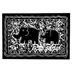 Elephant And Calf Lino Print Birthday Cake 3D Greeting Card (7x5)