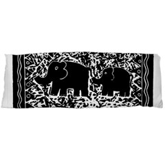 Elephant And Calf Lino Print Body Pillow Cases Dakimakura (Two Sides)