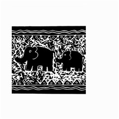 Elephant And Calf Lino Print Small Garden Flag (Two Sides)