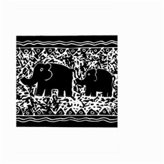 Elephant And Calf Lino Print Large Garden Flag (Two Sides)