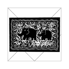 Elephant And Calf Lino Print Acrylic Tangram Puzzle (6  x 6 )