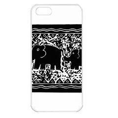 Elephant And Calf Lino Print Apple iPhone 5 Seamless Case (White)