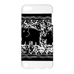 Elephant And Calf Lino Print Apple iPod Touch 5 Hardshell Case