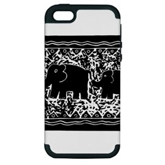 Elephant And Calf Lino Print Apple iPhone 5 Hardshell Case (PC+Silicone)