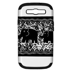 Elephant And Calf Lino Print Samsung Galaxy S III Hardshell Case (PC+Silicone)