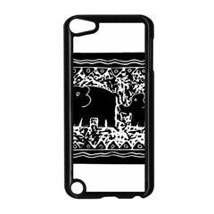 Elephant And Calf Lino Print Apple iPod Touch 5 Case (Black)