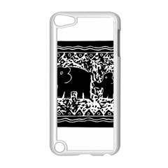 Elephant And Calf Lino Print Apple iPod Touch 5 Case (White)