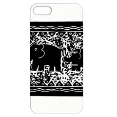 Elephant And Calf Lino Print Apple iPhone 5 Hardshell Case with Stand