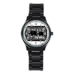 Elephant And Calf Lino Print Stainless Steel Round Watches