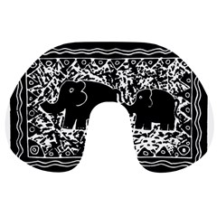 Elephant And Calf Lino Print Travel Neck Pillows