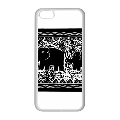 Elephant And Calf Lino Print Apple iPhone 5C Seamless Case (White)