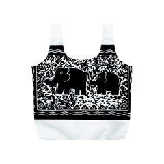 Elephant And Calf Lino Print Full Print Recycle Bags (S)
