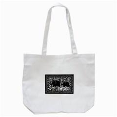 Elephant And Calf Lino Print Tote Bag (White)