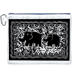 Elephant And Calf Lino Print Canvas Cosmetic Bag (XXXL)